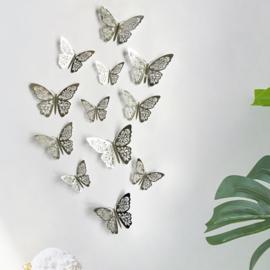 12 stuks zilveren 3d vlinders muurdecoratie (4)