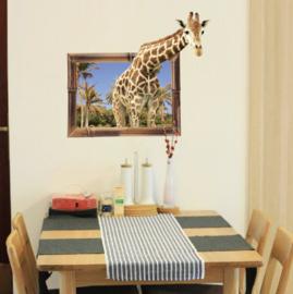 Muursticker giraffe uit raam kinderkamer