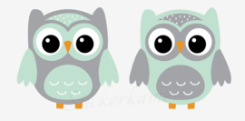 Little owl muursticker uilen mint - grijs