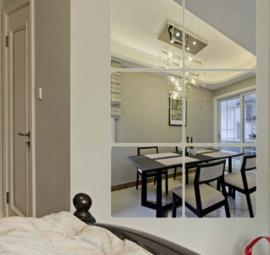 Spiegel vierkant met ronde hoeken decoratie acryl muursticker
