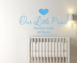 Muursticker naam jongenskamer: Our little prince