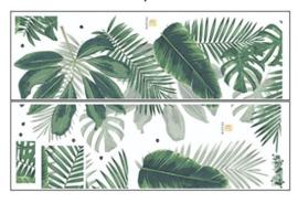 Muursticker tropisch groene palmbladen botanisch strook stickers
