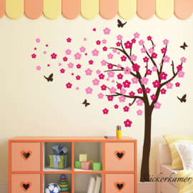 Muursticker grote bloesemboom 2 meter hoog (kies je eigen kleur)