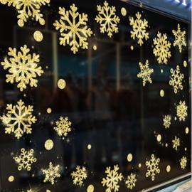 46 sneeuwvlokken goud glitter muursticker / raamsticker