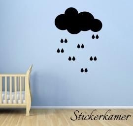 Muursticker wolk met druppels