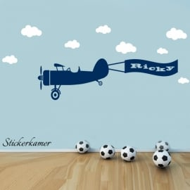 Vliegtuig met naam met wolken XL 120 cm