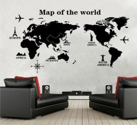 Muursticker wereldkaart zwart kinderkamer
