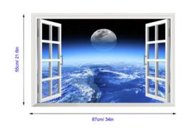 Muursticker raam met uitzicht op maan en aarde