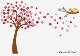 Muursticker aap met bloesem boom en tak