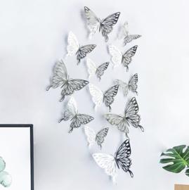 12 stuks zilveren 3d vlinders muurdecoratie (5)