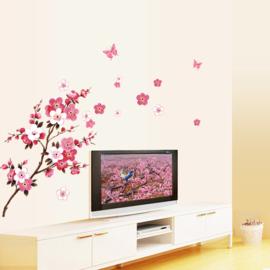 Bloesemtak roze - wit muursticker decoratie kamer