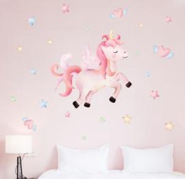 Muursticker meisjeskamer unicorn paard / pony  roze sterren-hartjes