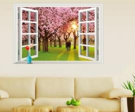 Muursticker Sakura bloesem bomen bos uitzicht