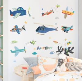 Muursticker vliegtuigen en helikopter mix kinderkamer