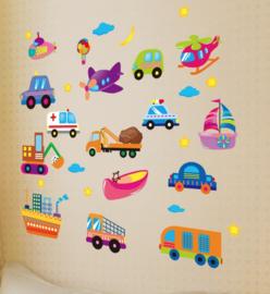 Muursticker voertuigen mix kinderkamer muurdecoratie