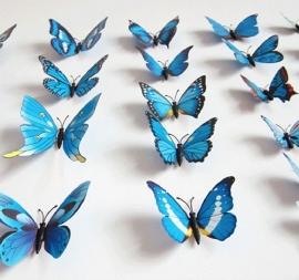 Kleurrijke 3D vlinders blauw - 12 stuks