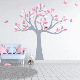 Muursticker boom met uilen en vogels kinderkamer meisjes (zacht roze)