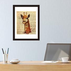 Muursticker / poster giraffe krant look newspaper