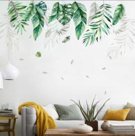 Muursticker tropische bladeren decoratie