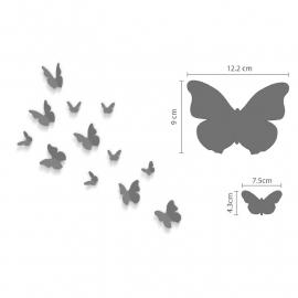 losse 3d vlinders (mirror/spiegel/zilver) + spiegel vlinders XL