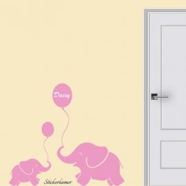 Naamsticker met olifant met ballon en naam