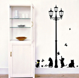 lantaarnpaal met poes / katten en vogels
