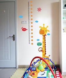 Muursticker hoogtemeter - groeimeter met giraffe en aapje kinderkamer