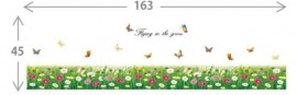 Muursticker bloemen en vlinders strook / plint kinderkamer