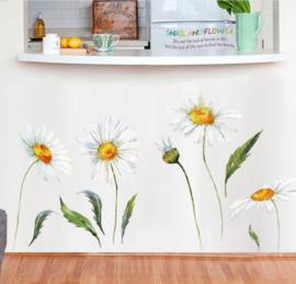 Muursticker madelief bloemen wanddecoratie