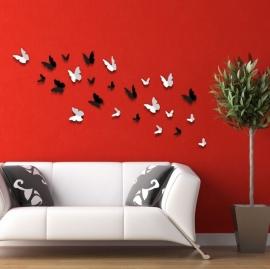 Muursticker 3d vlinders mix zwart en wit  (24 stuks)