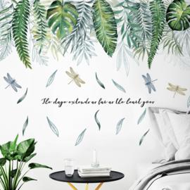 Muursticker tropisch groene palmbladen stickers