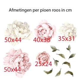 Muursticker pioenroos bloemen roze - wit babykamer