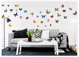 muursticker vlinders kleurrijk 61 stuks