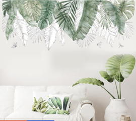 Muursticker tropisch decoratieve groene palmbladen botanisch