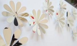 3D bloemen chroom spiegeleffect