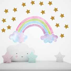 Muursticker regenboog en wolkjes unicorn stijl kinderkamer meisjes