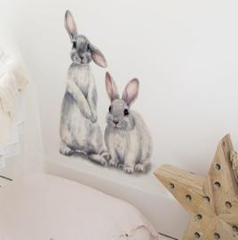 Muursticker  konijnen kinderkamer