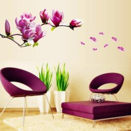 Muursticker magnolia bloem paars XL
