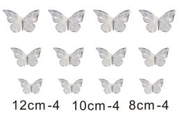 12 stuks zilveren 3d vlinders muurdecoratie (2)
