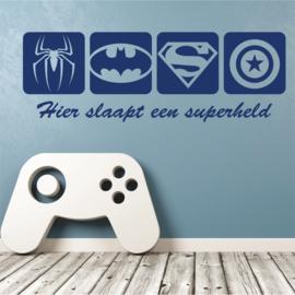 Muursticker Superhelden logo van Spiderman, Batman, Superman en Captain America