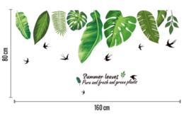 Muursticker decoratieve groene palmbladen en zwaluwen decoratie stickers