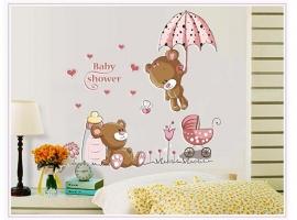 Muursticker beren baby shower