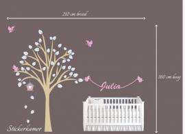Muursticker design boom met naam
