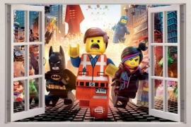 Stoere Lego muursticker full colour