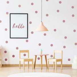 Muursticker stippen rose goud metallic matt / polka dots kinderkamer - babykamer