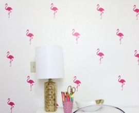 Muursticker flamingo print / patroon
