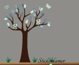 Muursticker boom met uilen en vogels mint