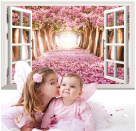 Muursticker raam uitzicht sprookjes bos roze bloesem meisjes kamer