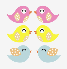 Set gekleurde muursticker vogels 6 stuks