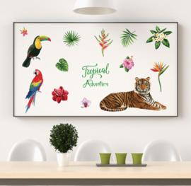 Muursticker tropische jungle beesten mix  kinderkamer / babykamer